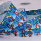 Smurf & Smurfette on Blue Printed Grosgrain Ribbon - DIY