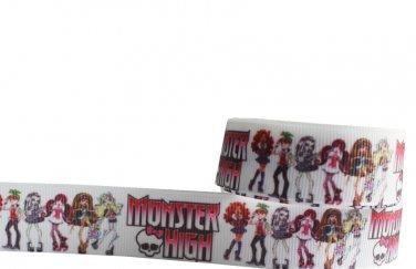 Monster High on White Printed Grosgrain Ribbon - DIY