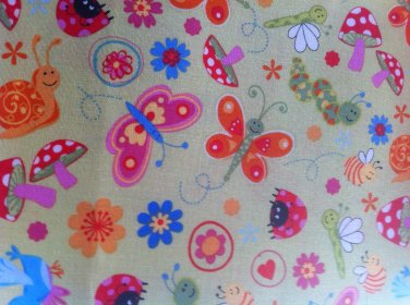 BYT Bugs on Yellow Lime Cotton Fabric - By the Yard Sewing supplies