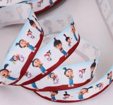 Cute Agnes Despicable ME On White Printed Grosgrain Ribbon - DIY