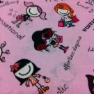 Chatty Girls on Pink Cotton Fabric- Half Yard sewing supplies