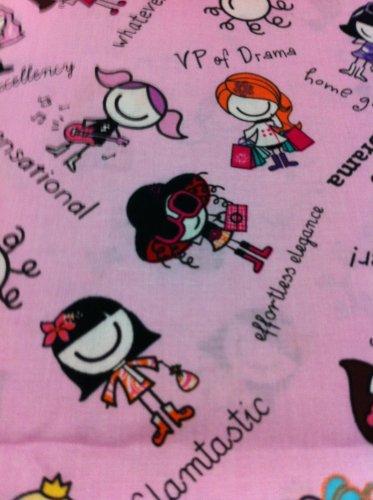 Chatty Girls on Pink Cotton Fabric- Half Yard sewing supplies