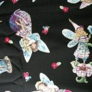 Fairies on Black Cotton Fabric - Half Yard sewing supplies