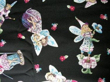 Fairies on Black Cotton Fabric - Half Yard sewing supplies