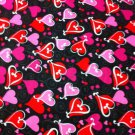 BDY Looped Hearts Black Cotton Fabric/Sewing supplies/Apparel/Valentine's Print