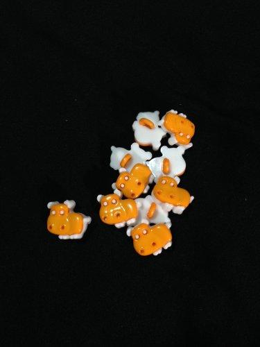 Cute Dark Yellow Hippos Novelty Buttons - Plastic Buttons Sewing Craft Supplies