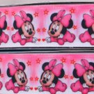 "Pink Minnie Mouse Printed Grosgrain Ribbon 1""(25mm)/DIY Hair bows/5yards"