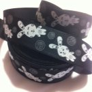 Cute White Bunny on Black Printed Grosgrain Ribbon/DIY 3YARDS