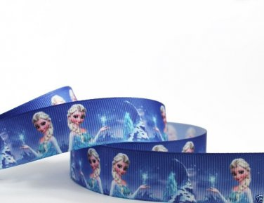 "Disney Frozen Elsa Printed Grosgrain Ribbon/7/8""(22mm)/DIY Hair bow/Head Band 3YARDS"