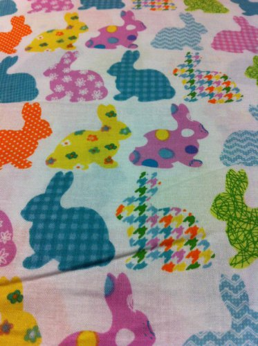 Easter Bunnies on white Cotton Fabric/Sewing craft supplies/Apparel Fabric/Quilt 100% Cotton Fabric