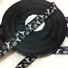 Paris Ivory Eiffel Tower on Black Printed Grosgrain Ribbon/DIY craft Supplies/5YARDS