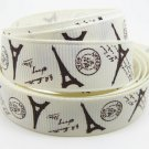 "Paris Brown Eiffel Tower on Ivory Printed Grosgrain Ribbon/5YARDS/DIY/5/8"" WIDTH"