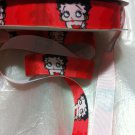 "Betty Boop on Red Printed Grosgrain Ribbon/7/8""(22mm)width/DIY/3 YARDS"