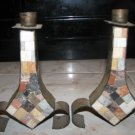 VINTAGE SHABBAT CANDLE STICKS BY EILON MOSAICS ISRAEL