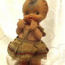 LITTLE LADY RARE RUBBER DOLL TOY ~ORIGINAL HAND MADE DRESS by MAYER ISRAEL 1950s