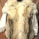 HANDSOME REAL WHITE LEATHER & FUR COAT BY SCHARF'S FURS ISRAEL
