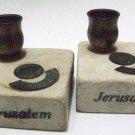 JERUSALEM STONE HOLY LAND CHURCH 2000 JUBILEE CANDLE HOLDERS, ISRAEL