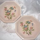 SAKURA FLOWERS & BLUEBIRD Pair of TIFFANI Octagonal Plates Made in Italy