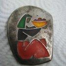 1950'S ISRAEL MODERN ART ENAMEL SILVER BROOCH-PENDANT