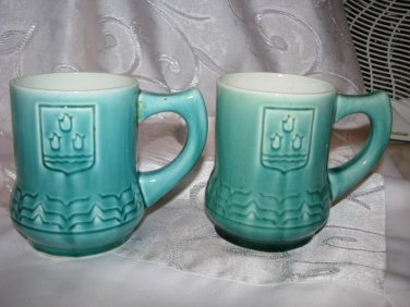 Vintage 1960' Azerbaijan Baku coat of arms Soviet Russian Porcelain MUGS