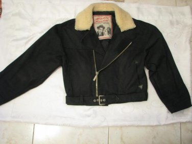 MICHEL BACHOZ Original Design Coat with fur collar, size Medium