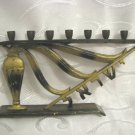 "EARLY ISRAEL ""OIL JUG MIRACLE"" GOLD & BLACK COLOR BRASS HANNUKAH MENORAH LAMP"