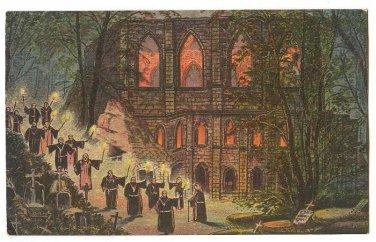 VINTAGE MONK TRAINING IN OYBIN CHURCH POSTCARD GERMANY