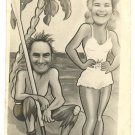 """COUPLE ON DESERTED BEACH"" REAL FACE PHOTO 1948 ENGLAND"