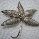 "BEAUTIFUL FILIGREE STERLING SILVER ""GRASS LEAF"" BROOCH"
