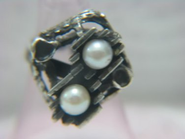 INCOMPARABLE DESIGNER ST.925 SILVER PEARLS RING ISRAEL