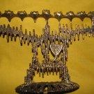SHALOM ~ Modernist Brass Hanukkah Menorah Lamp, Israel