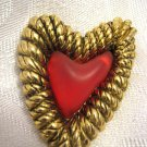 BALENCIAGA PARIS Large Gold Tone Heart Brooch 1980