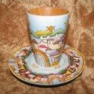 Hand painted Kiddush Cup & Plate by R.Rashi Jerusalem Israel