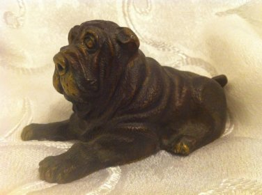 STUNNING RUSSIAN ANTIQUE MASTIFF DOG BRONZE FIGURINE