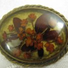 FLOWERS OF ISRAEL Lucite Brass Brooch 1960's ~ Art work by Kedem