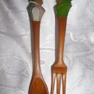 Vintage ANRI Hand Carved Wood Salad Fork & Spoon Laughing Couple