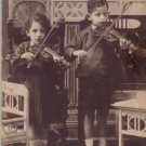 YOUNG JEWISH VIOLINISTS IN INTERIOR ANTIQUE REAL PHOTO