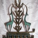 INCREDIBLY GRACEFUL Enamel Brass Hanukkah Menorah Lamp, Israel 1950