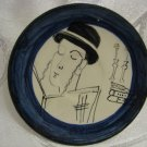 """JEWISH ORTHODOX MAN PRAYING ON SATURDAY"" HAND PAINTED CERAMIC PLATE ISRAEL"