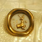 Fantastic Vintage BIMINI White with Gold Art Glass Button England