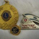 Vintage Lions Club Israel #356 10K gold President tie tac pin, Medal, Badge