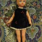 LITTLE GIRL HANDPAINTED RUBBER DOLL IN VELOUR DRESS ISRAEL 1950'S