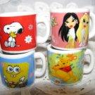 """With Love from me"" Snoopy, Bratz, Pooh Bear, SpongeBob Hebrew Mini Mugs, Israel"