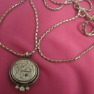 JUDAICA ~ KEVER RACHEL TOMB STERLING SILVER CAMEO W/PARCHMENT & CHAIN ~ ISRAEL