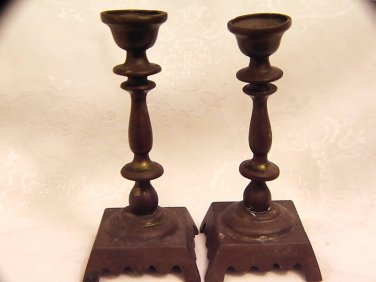 PAIR OF ANTIQUE JEWISH BRONZE CANDLESTICKS FOR SHABBAT