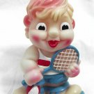 """TENNIS-PLAYER RUSSIAN LARGE RUBBER DOLL TOY 8.5"""""""