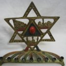 JERUSALEM HOLY PLACES CHANNUKAH LAMP ISRAEL W/RED JADE
