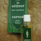 Vintage EAU DE VETIVER pour monsieur Carven 1/3 oz / 10 ml New