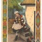 GIRL IN NATIONAL DRESS~1924 GREETING POSTCARD MOLDAVIA