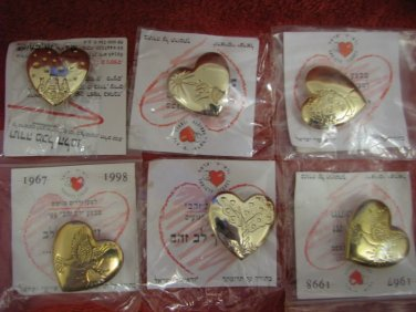 Collection of VARIETY CLUB ISRAEL Sealed Heart Pins ~ Mint ~ Rare